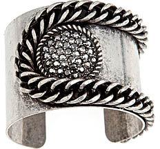 Blu Bijoux Silver Circle Crystal and Chain Cuff