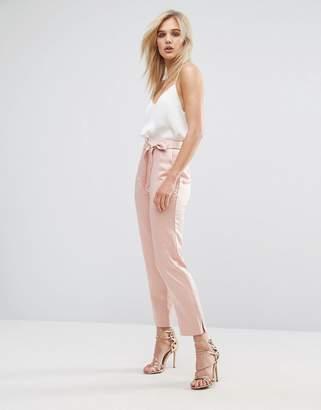 ASOS Satin Peg Pants with Split Hem and Belt $45 thestylecure.com