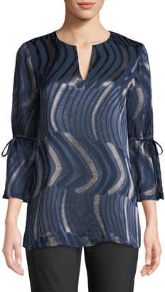 Lafayette 148 New York Sela Drawstring-Sleeve Abstract-Motif Blouse