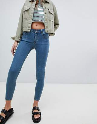 Pull&Bear low rise skinny jean in medium blue