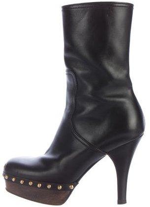 Miu MiuMiu Miu Studded Leather Ankle Boots