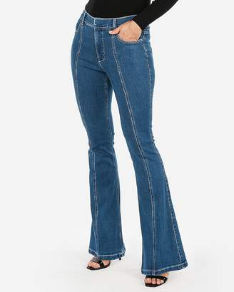Express High Waisted Denim Perfect Seamed Bell Flare Jeans