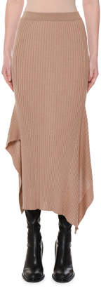 Stella McCartney Ribbed Fitted Wool-Silk Midi Skirt w/ Asymmetric-Hem