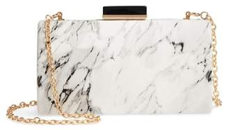 Sondra Roberts Marble Print Faux Leather Box Clutch