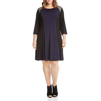 Karen Kane Women's Plus Size Faux Suede Yoke Colorblock Dress