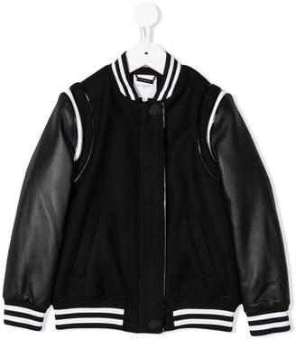 Givenchy Kids logo patch leather bomber jacket