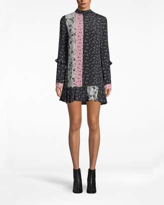 Nicole Miller Tulip Ditzy Mock Neck Shift Dress