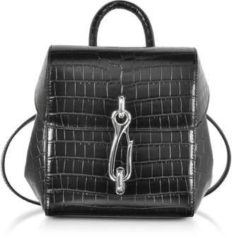 Alexander Wang Hook Mini Black Croco Embossed Leather Backpack