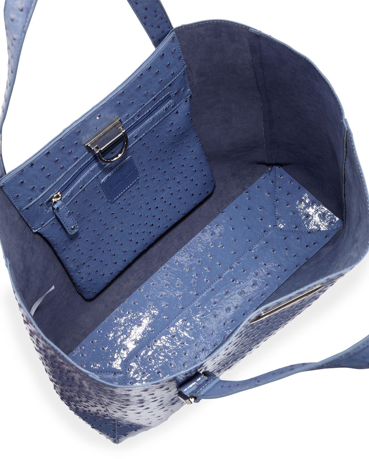 Neiman Marcus Glazed Ostrich Embossed Faux Leather East-West Tote, Blue