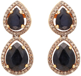 Carousel Jewels Double Drop Pear Shaped Sapphire & Diamond Studs