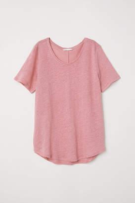 H&M Linen Scoop-neck Top - Pink