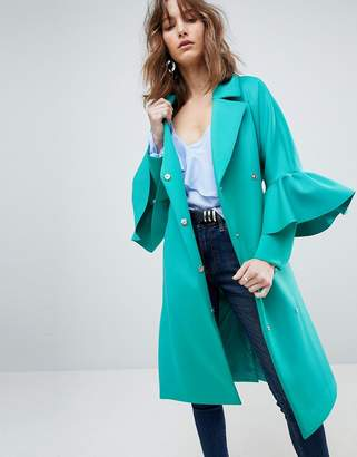 Asos Design Scuba Ruffle Sleeve Coat