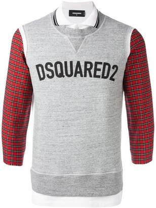 DSQUARED2 logo sweatshirt detail polo shirt