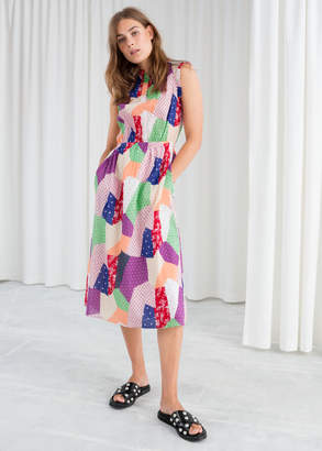 And other stories Gathered Patchwork Print Dress