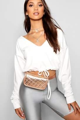 boohoo Metallic Quilted Belt Bag
