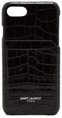 Saint Laurent Crocodile-effect leather phone case