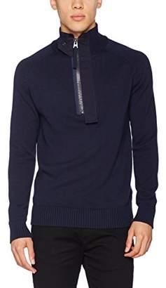 G Star Men's Empral 1/2 Zip Knit L/s Jumper, (Sartho Blue 6067), XX-Large