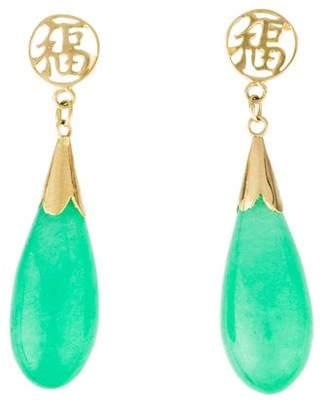 14K Dyed Jadeite Drop Earrings