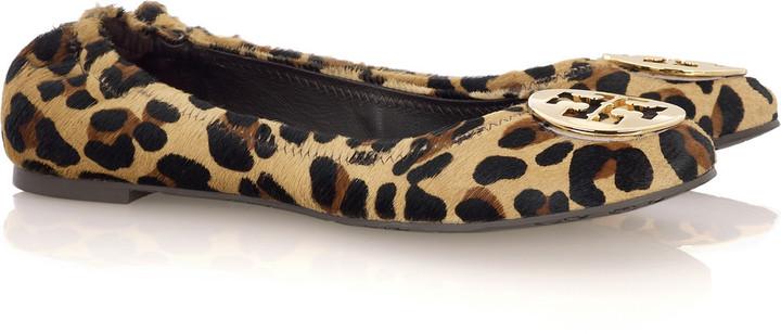 Tory Burch Reva leopard-print calf hair ballet flats