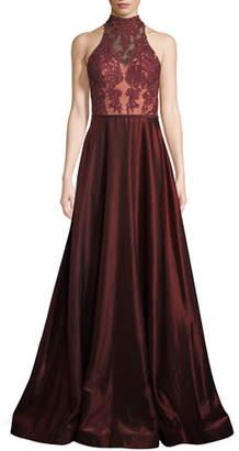 La Femme Two-Tone Sleeveless Satin Ball Gown