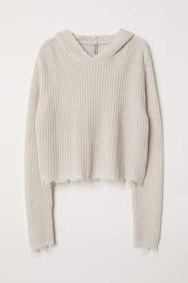 H&M Rib-knit Hooded Sweater - Beige