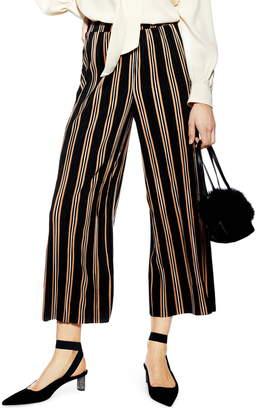 Topshop Stripe Plisse Crop Trousers