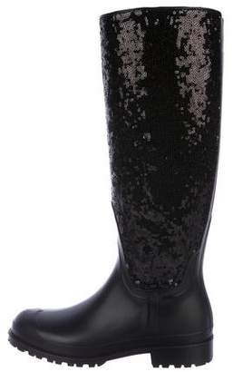 Saint Laurent Rain Gum Sequin Boot w/ Tags