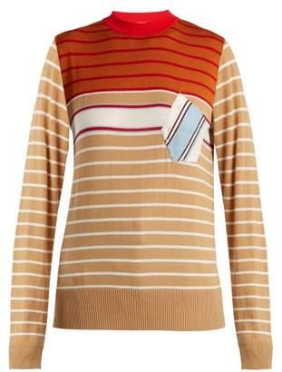 Marni Striped Wool Blend Sweater - Womens - Beige Multi