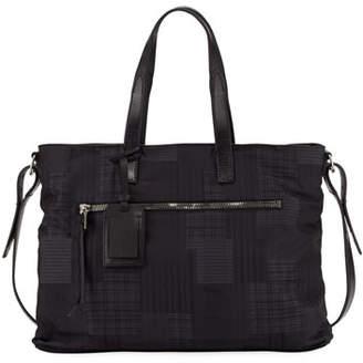 John Varvatos Plaid-Print Nylon Shopper Bag