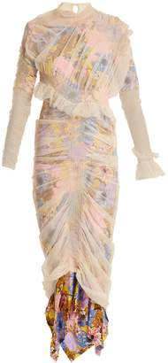 Preen by Thornton Bregazzi Viola layered floral-print tulle and silk dress