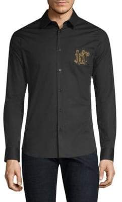 Versace Embroidered Crest Long Sleeve Shirt