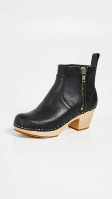Swedish Hasbeens Zip it Emy Block Heel Booties