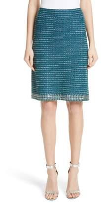 St. John Sequin & Sheen Tweed Knit A-Line Skirt