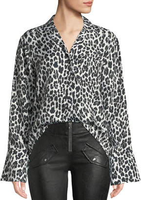 RtA Yvonne Button-Down Leopard-Print Silk Blouse