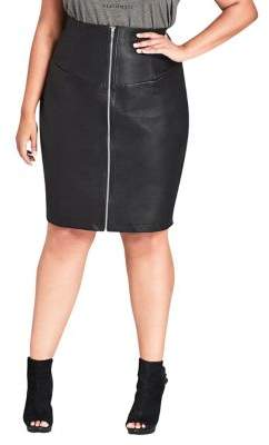 City Chic Plus Corset Faux-Leather Skirt