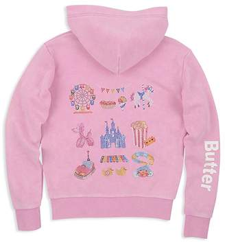 Butter Shoes Girls' Mineral Wash Embellished Carnival Fleece Hoodie - Little Kid