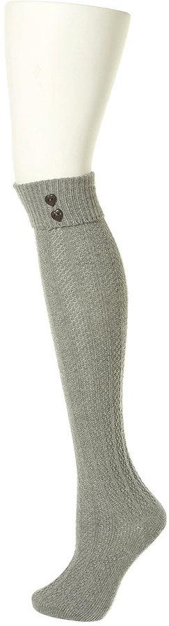 Heart Button Knee High Socks