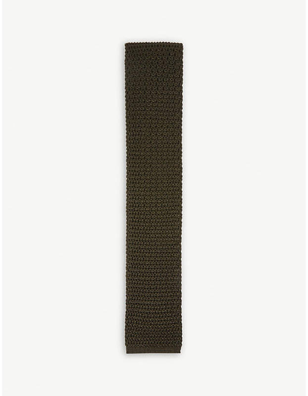 Compact knit square-cut silk tie