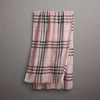 Burberry Metallic Check Silk and Wool Scarf, Purple
