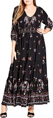 City Chic Peacock Love Maxi Dress
