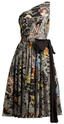 Prada Comic Print One Shoulder Cotton Dress - Womens - Grey Print