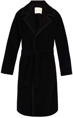 MACKINTOSH Wool Blend Herringbone Belted Overcoat - Mens - Black