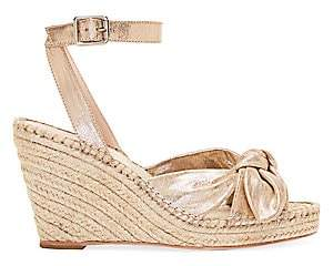 Loeffler Randall Women's Tessa Bow Leather Espadrille Wedge Sandals