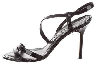 Manolo Blahnik Patent Leather Strappy Sandals