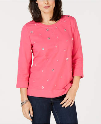 Karen Scott Petite Grommeted Sweatshirt