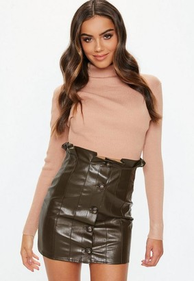 Missguided Khaki Paperbag Faux Leather Mini Skirt