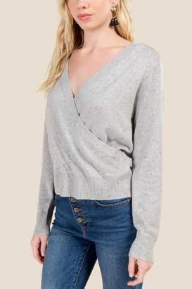 francesca's Betheney Surplus Cropped Sweater - Heather Gray