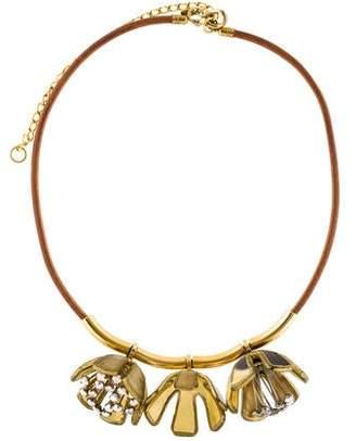 Marni Crystal Horn Flower Collar Necklace
