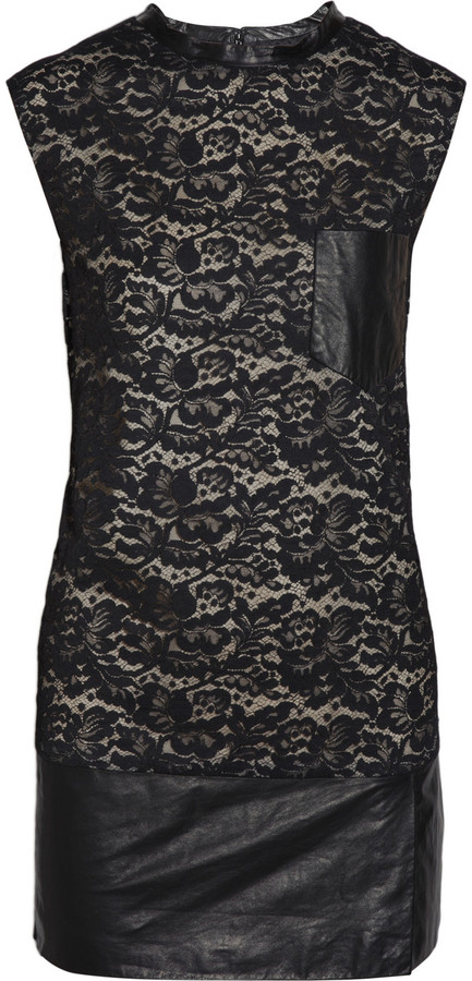 3.1 Phillip Lim Lace and leather mini dress