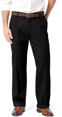 Dockers Men's Stretch Easy Khaki D4 Relaxed-Fit Pleated Pants